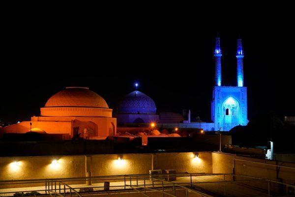 Night skyline in Yazd, Iran