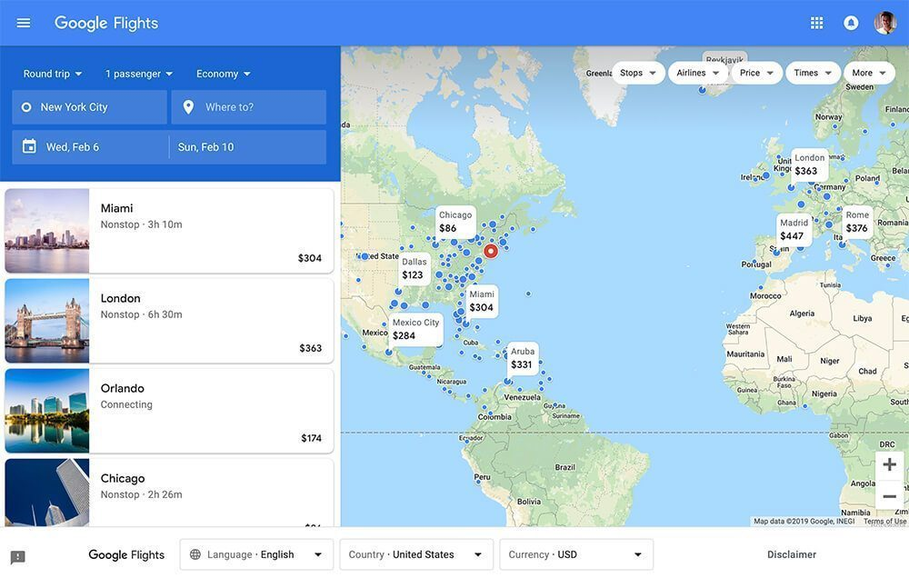 Google Flights Search Screenshot
