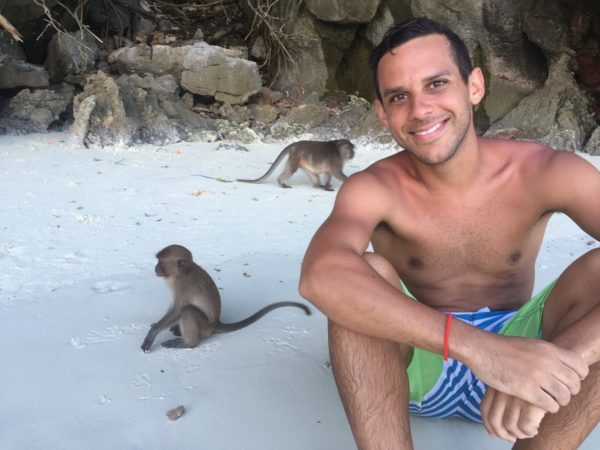 Norbert with Monkeys at the Beach