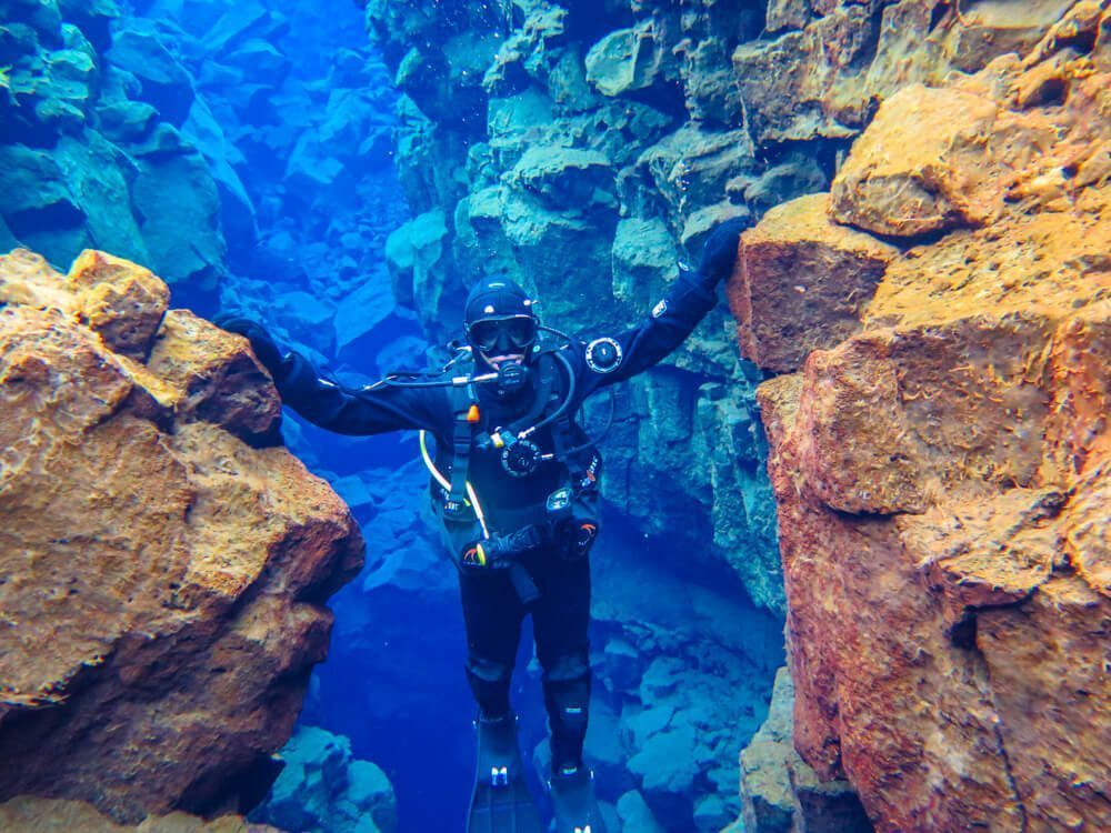 Diving at Silfra in Iceland