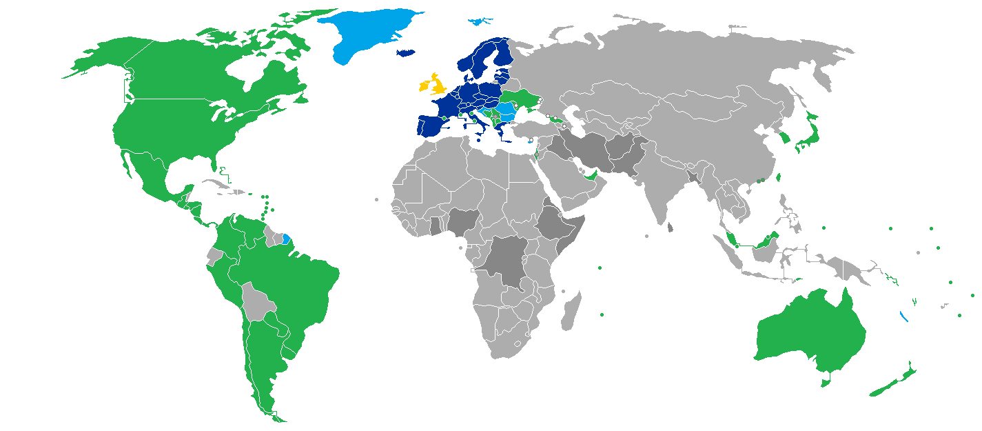 Countries eligible for the ETIAS