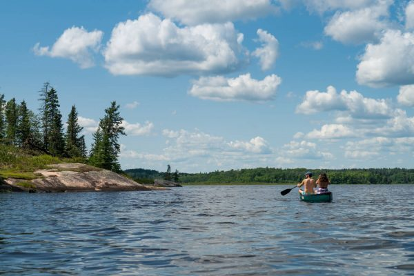 Canoeing at Caddy Lake at the Whiteshell Provincial Park, Manitoba, Canada