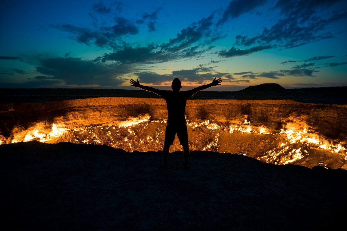 Norbert at Gates of Hell in Turkmenistan