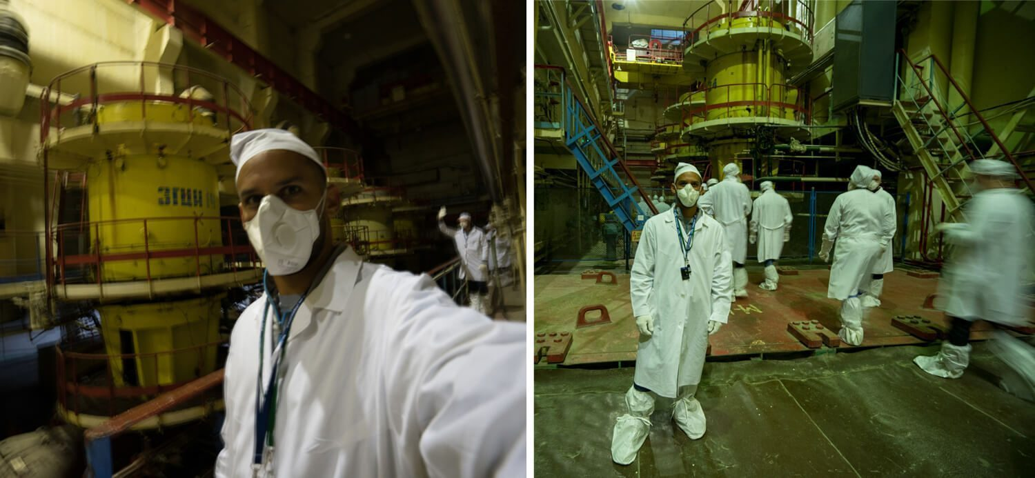 Norbert in the circular pumps room in Chernobyl