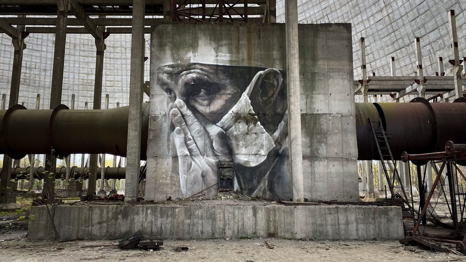 Cooling tower art in Chernobyl