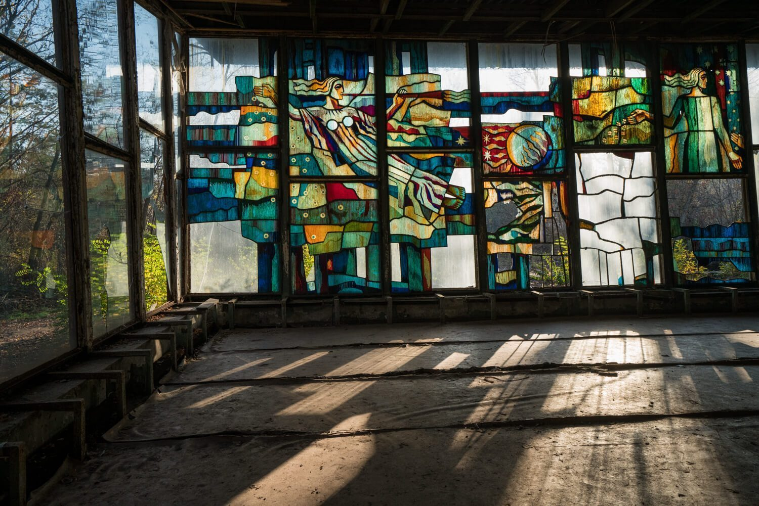 The stained glass at the cafe in Pripyat.