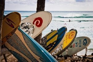 Surfboards at the beach in Rincon
