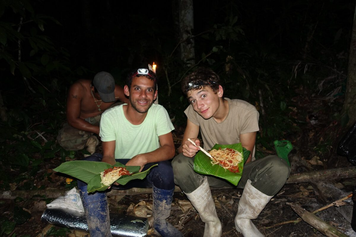 Having dinner in the Amazon Jungle