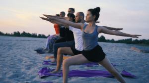Goa, India, Beach Yoga