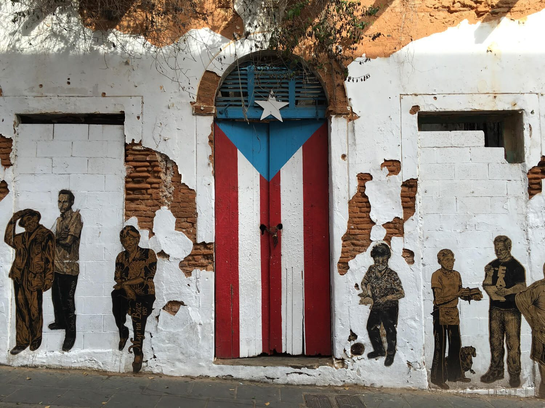 Door with the Puerto Rico Flag