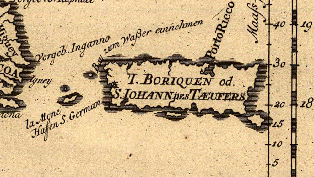 Old map of Puerto Rico as San Juan Bautista
