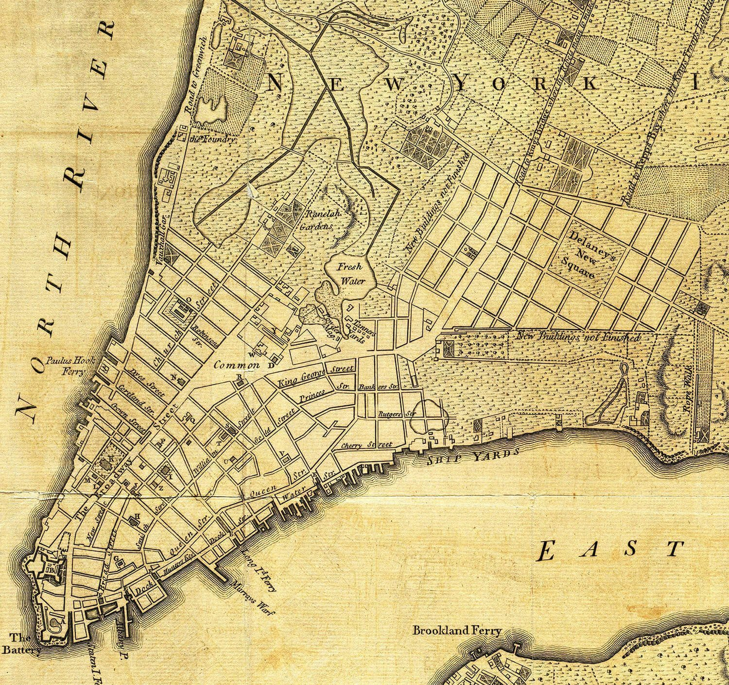 New York City Map from 1776