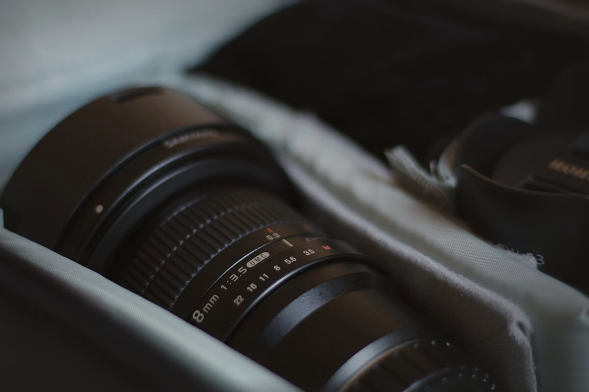 Lens in camera backpack