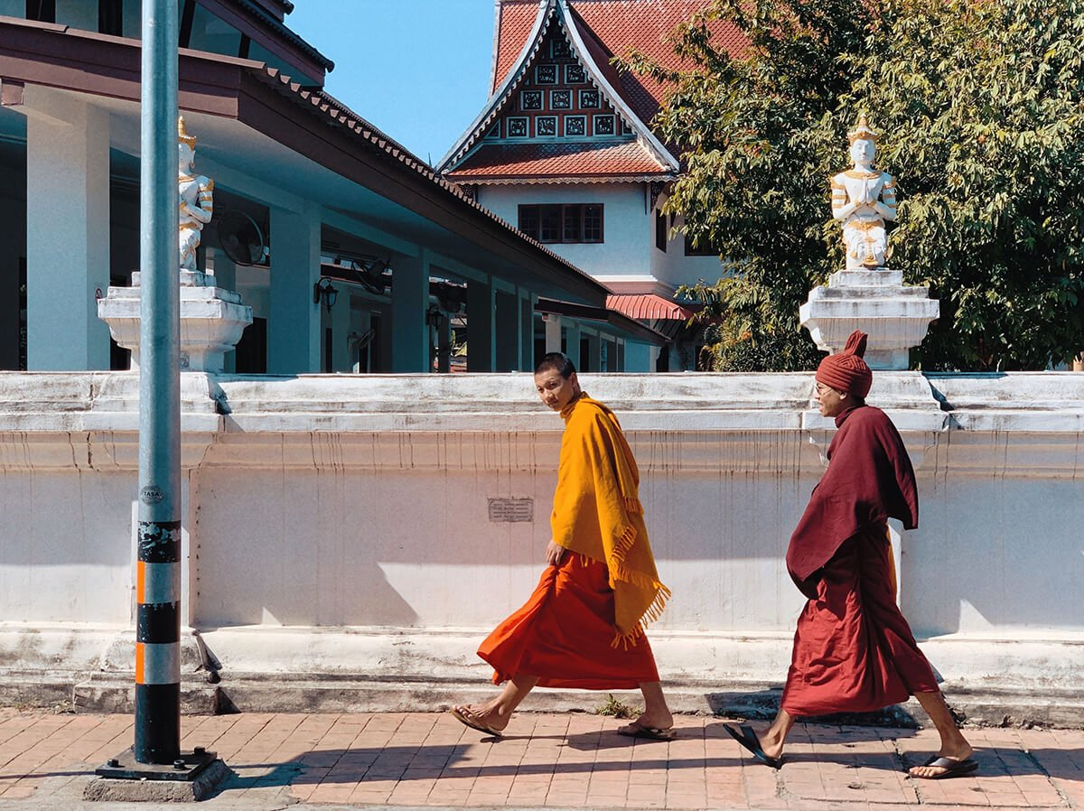 Monks walking in Chiang Mai, Thailand