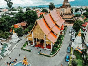 Aerial View of a temple in Chiang Mai, Thailand