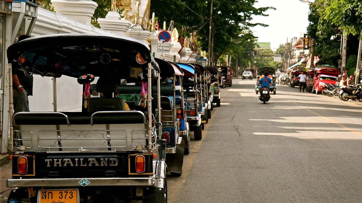 Tuk tuks in Chiang Mai, Thailand