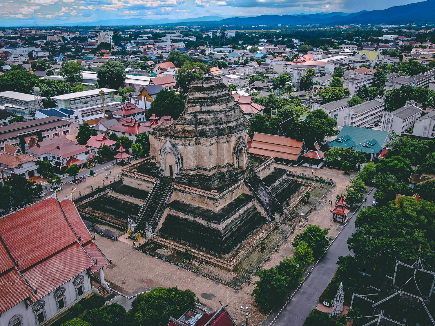 Aerial View of a temple ruins in Chiang Mai, Thailand