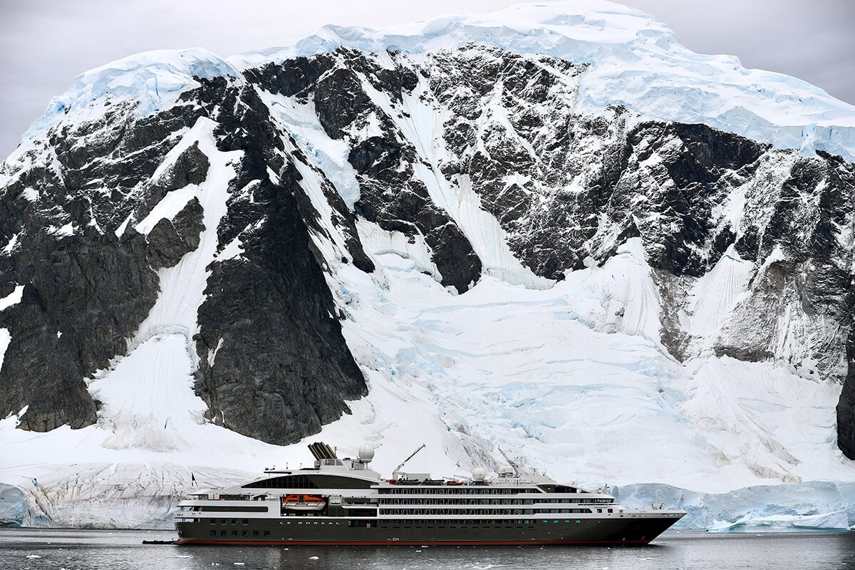 Expedition ship in Antarctica