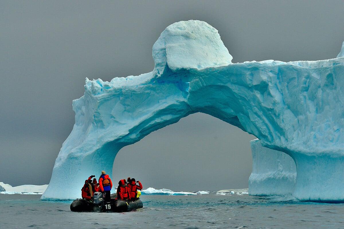 Zodiac by glacier inn Antarctica