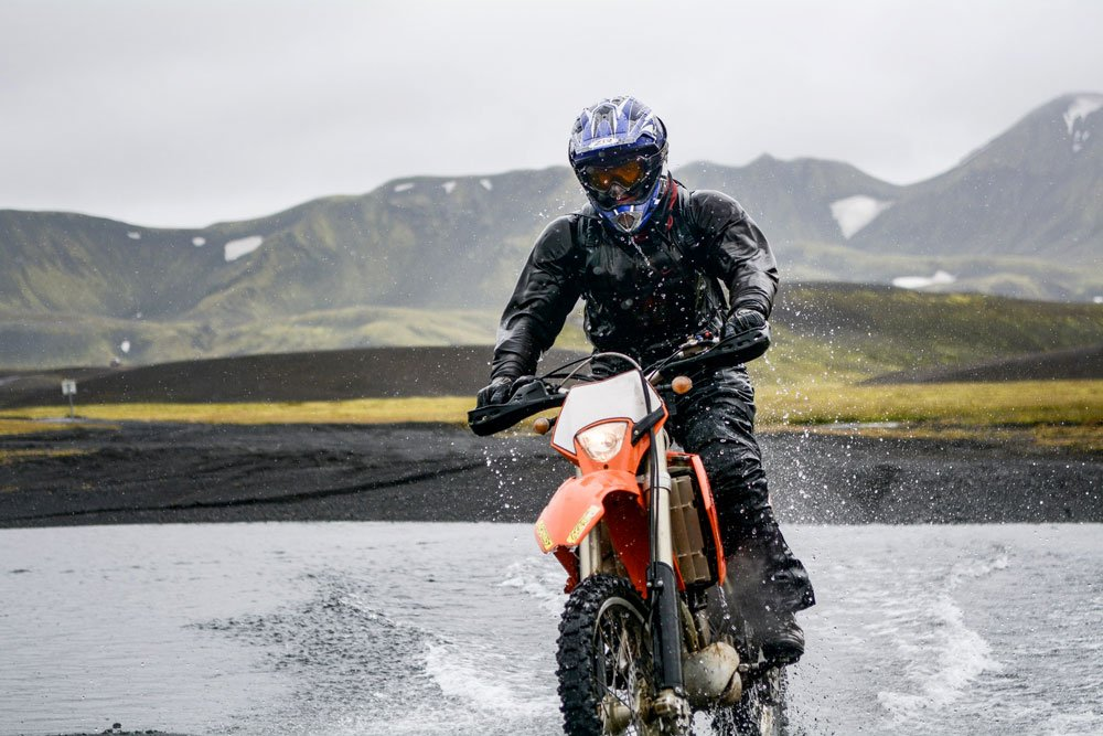 Riding a motorcycle in Iceland