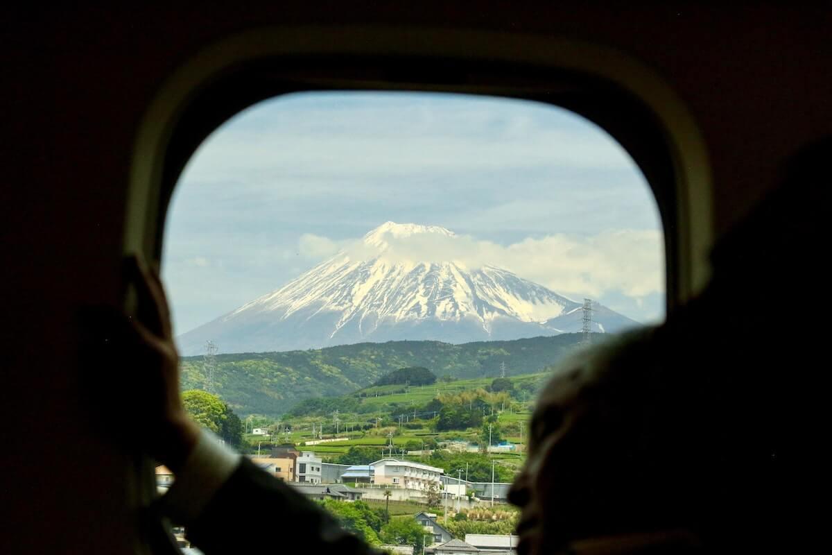 Mount Fuji through JR Train Window, Japan