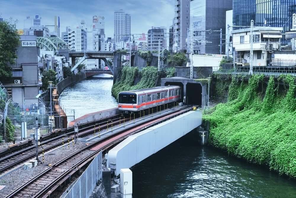 Train Going Through a Tunnel in Tokyo