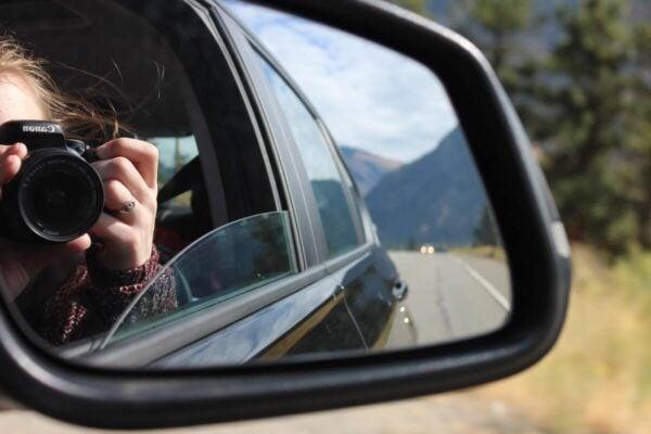 Car mirror selfie